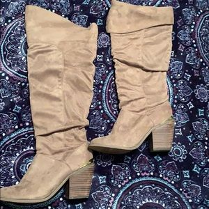 Suede Leila Stone Knee High Boots